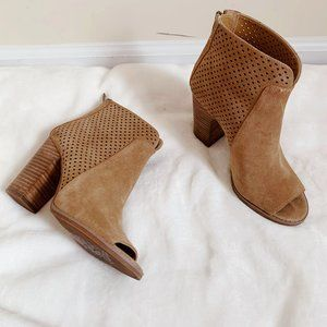 Lucky Brand Suede Peep Toe Lamia Ankle Boots 7
